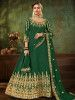 Green Embroidered Georgette Festive Long Gown With Dupatta