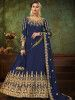 Blue Embroidered Georgette Festive Long Gown With Dupatta