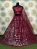 Maroon Sequins Net Party Wear Lehenga Choli