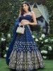 Navy Blue Mirror Work Embroidered Taffeta Wedding Wear Lehenga Choli