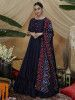 Navy Blue Floral Work Silk Festive Wear Long Anarkali Gown