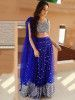 Aditi Budhathoki Blue Sequins Work Net Party Wear Lehenga Choli