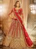 Red Stone Coding Work Net Bridal Wear Lehenga Choli