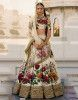 Cream Floral Digital Printed Art Silk Bridal Lehenga Choli
