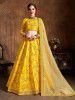 Yellow Embroidery Mulberry Silk Bridal Lehenga Choli With Striped Dupatta