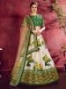 Cream-Green Floral Print Banglori Silk Bridal Lehenga Choli With Beige Dupatta
