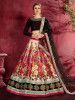 Multi Color Floral Printed Banglory Silk Bridal Lehenga Black Choli And Dupatta