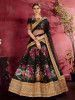 Black Floral Printed Banglori Silk Bridal Lehenga Choli With Dupatta