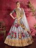Grey Floral Printed Banglori Silk Bridal Lehenga Choli With Dupatta
