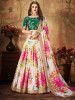 Cream Floral Digital Printed Organza Bridal Lehenga Choli