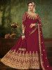 Maroon Embroidered Georgette Festive Long Gown With Dupatta