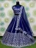 Blue Foil Work Net Party Wear Lehenga Choli With Blouse
