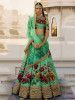 Green Floral Digital Printed Art Silk Bridal Lehenga Choli