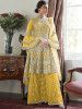 Yellow Embroidered Net Festival Wear Pakistani Sharara Suit
