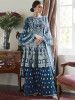 Blue Embroidered Net Festival Wear Pakistani Sharara Suit