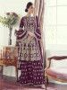 Wine Embroidered Net Festival Wear Pakistani Sharara Suit