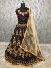 Maroon Embroidered Taffeta Wedding Wear Lehenga Choli With Cream Dupatta