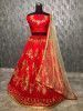 Red Embroidered Taffeta Wedding Wear Lehenga Choli With Cream Dupatta