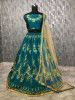 Teal Blue Embroidered Taffeta Wedding Wear Lehenga Choli With Cream Dupatta