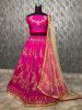 Pink Embroidered Taffeta Wedding Wear Lehenga Choli With Cream Dupatta