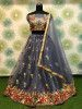 Gray Floral Embroidered Net Party Wear Lehenga Choli