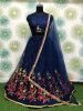 Navy Blue Embroidered Net Party Wear Lehenga Choli With Dupatta