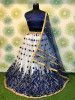 Navy Blue Embroidered Net Festival Wear Lehenga Choli With Dupatta