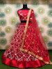 Red Thread Embroidered Net Festive Wear Lehenga Choli