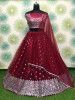 Maroon Sequins Work Net Party Wear Lehenga Choli