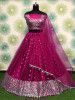 Magenta Sequins Work Net Party Wear Lehenga Choli