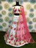 White Zari Embroidered Net Party Wear Lehenga Choli With Pink Dupatta