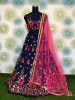 Navy Blue Zari Embroidered Net Party Wear Lehenga Choli With Pink Dupatta