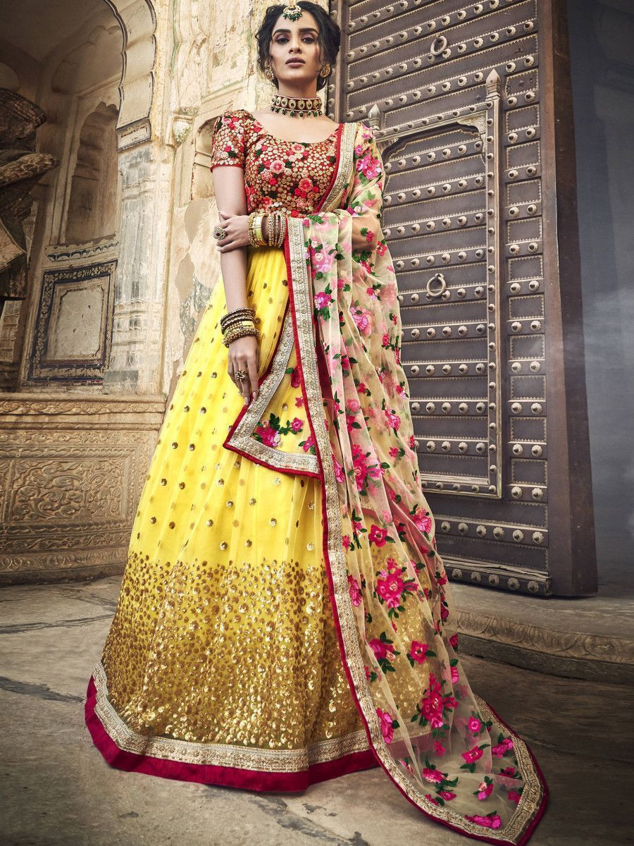 Yellow Flower Embroidered Party Wear Lehenga Choli
