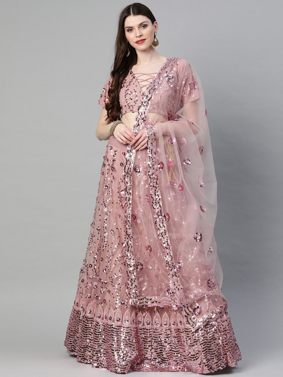 Mauve Embellished Semi-Stitched Myntra Lehenga & Blouse with Dupatta