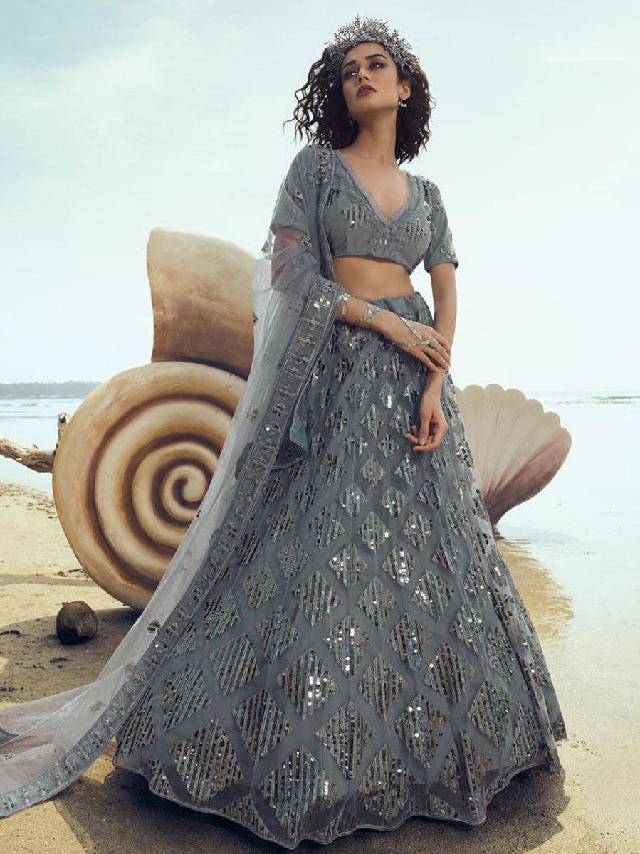 Grey Thread Sequins Work Party Wear Lehenga Choli With Dupatta