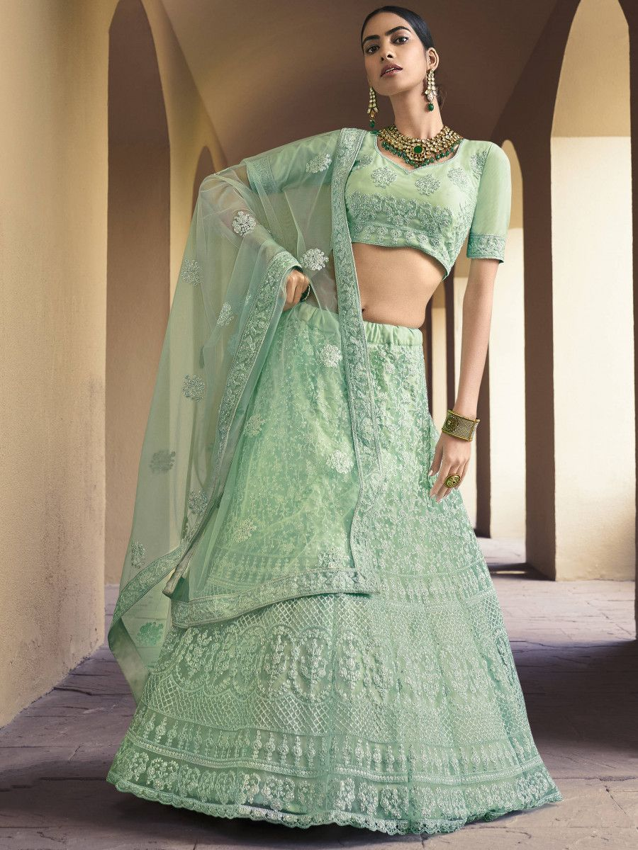Mint Green Dori Embroidered Net Wedding Lehenga Choli