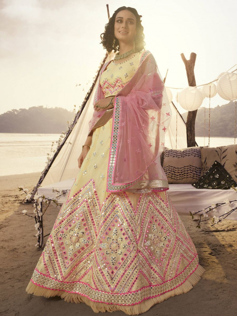 Off White Thread Embroidered Foil Organza Party Wear Lehenga Choli