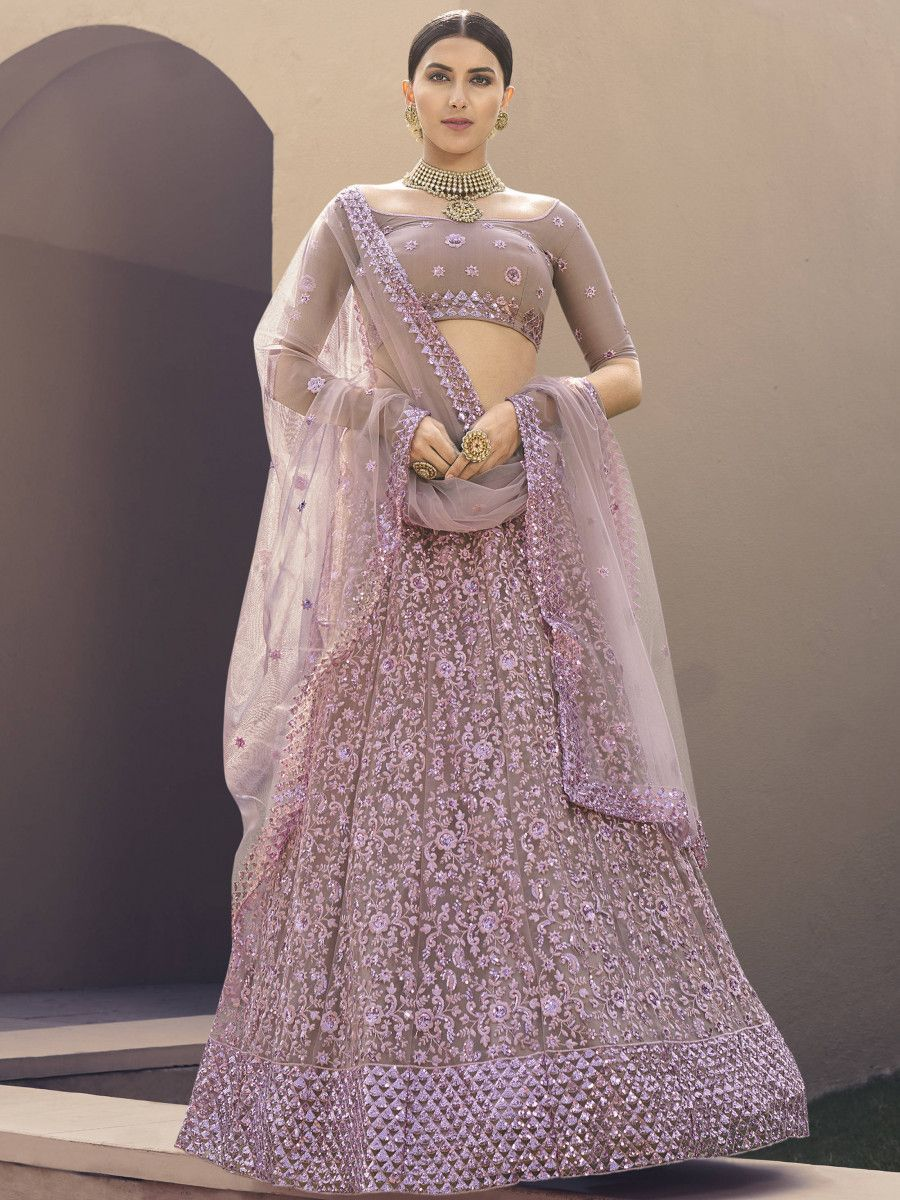 Lilac Dori Embroidered Net Wedding Lehenga Choli