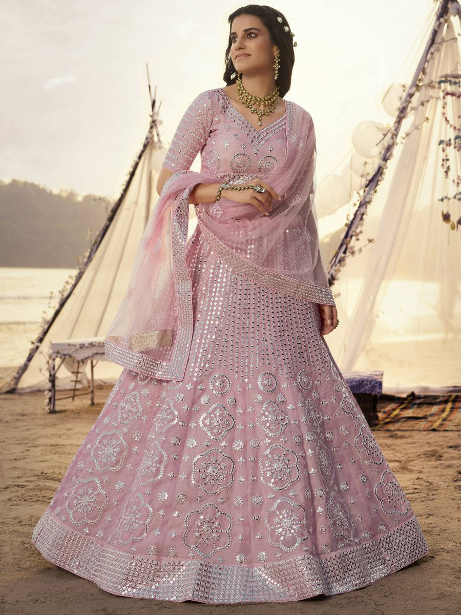 Baby Pink Heavy Foil Work Organza Party Wear Lehenga Choli