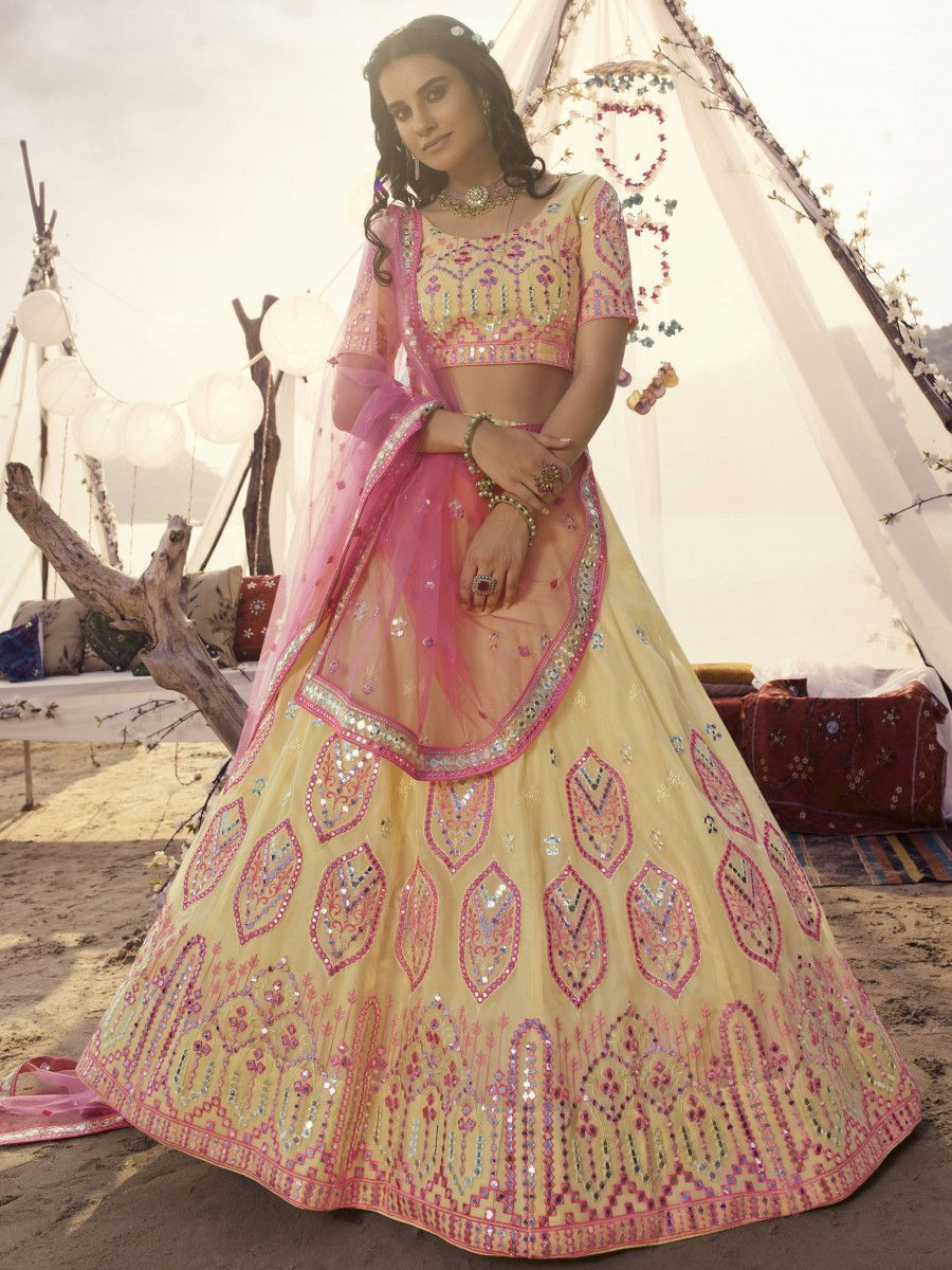Off White Multi Thread Foil Work Organza Party Wear Lehenga Choli