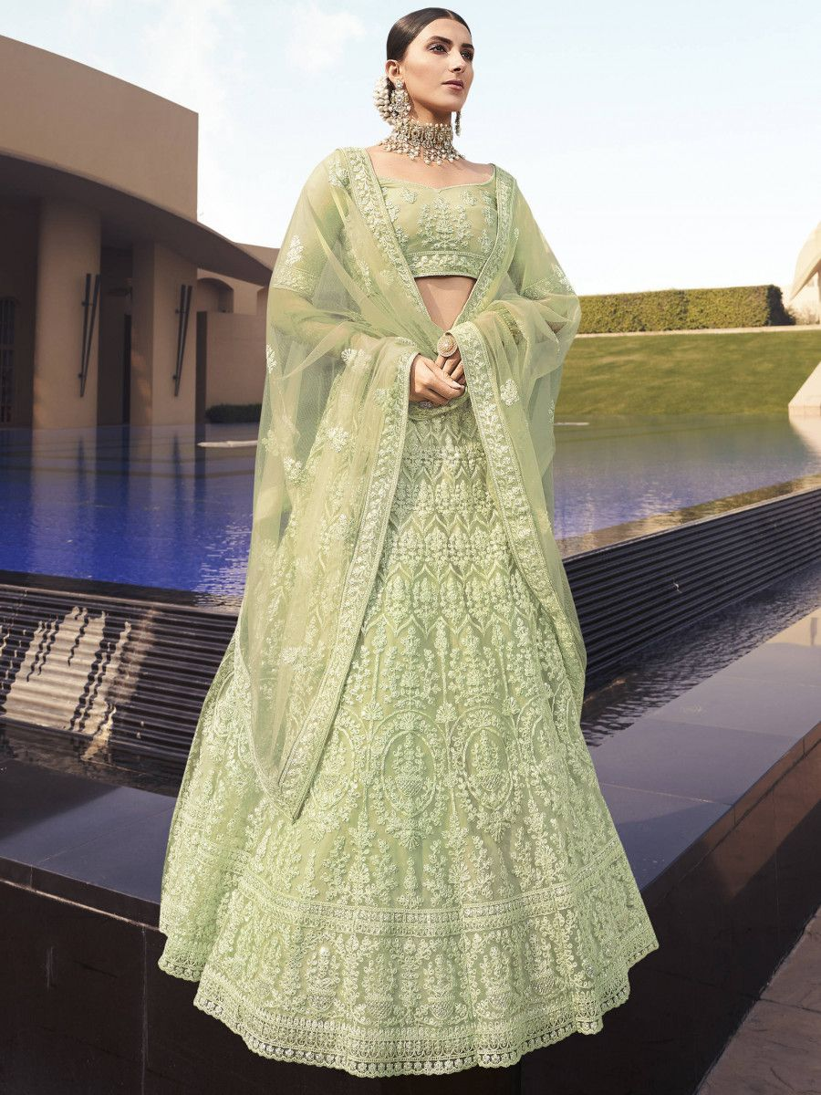 Light Green Dori Embroidered Net Bridal Lehenga Choli With Dupatta