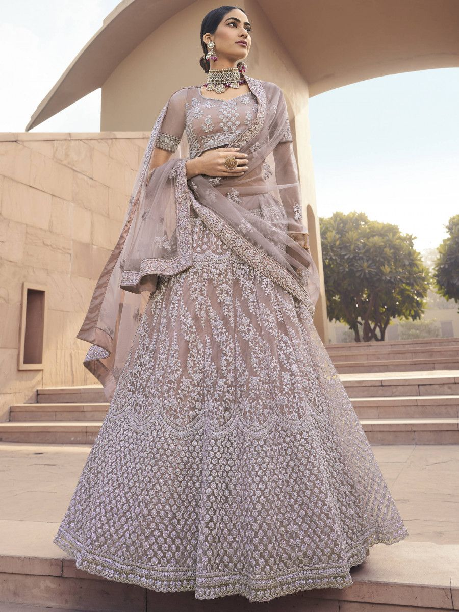 Mauve Dori Embroidered Net Bridal Lehenga Choli With Dupatta