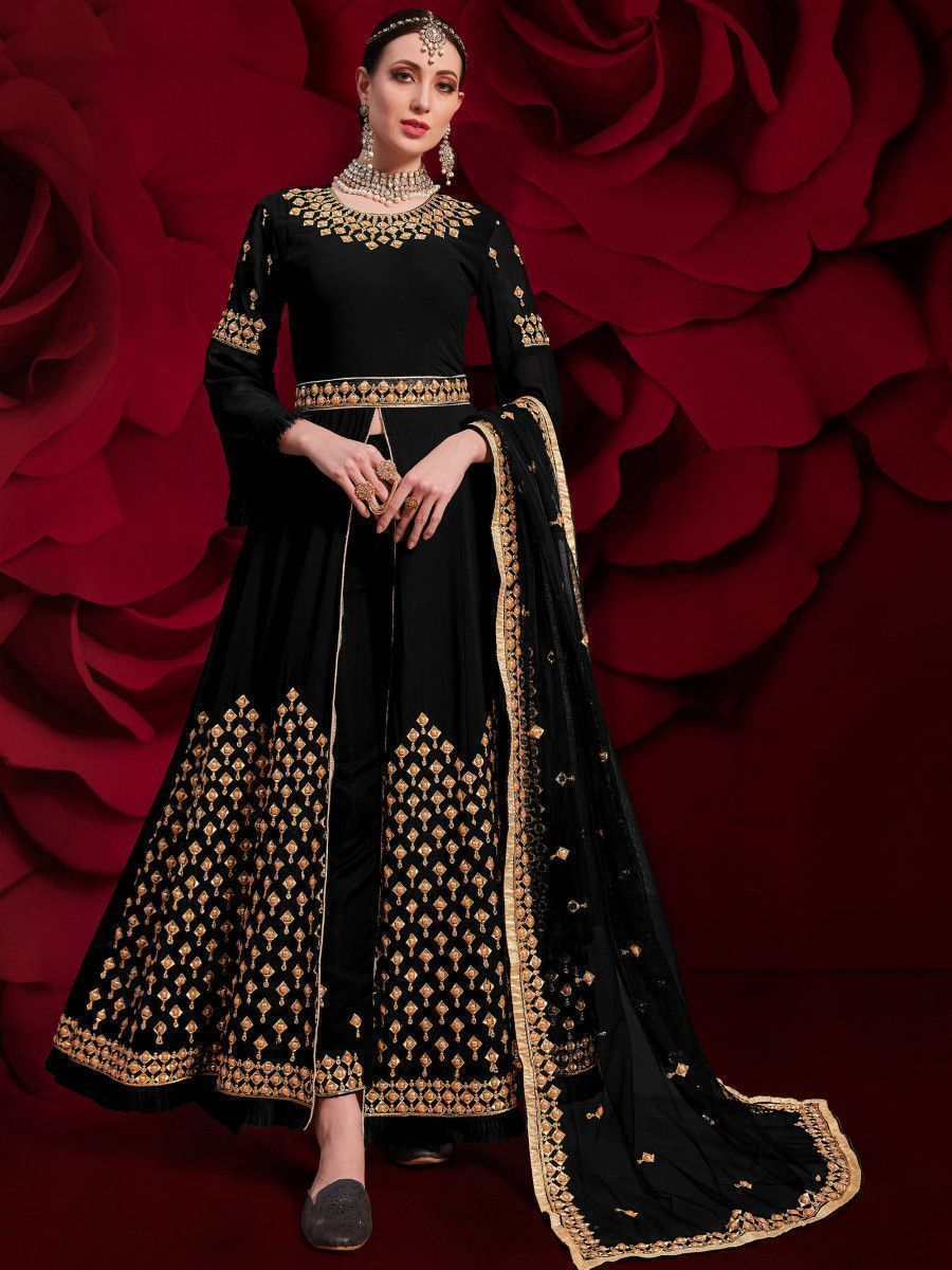 Black Stone Embroidered Georgette Festive Pakistani Salwar Suit