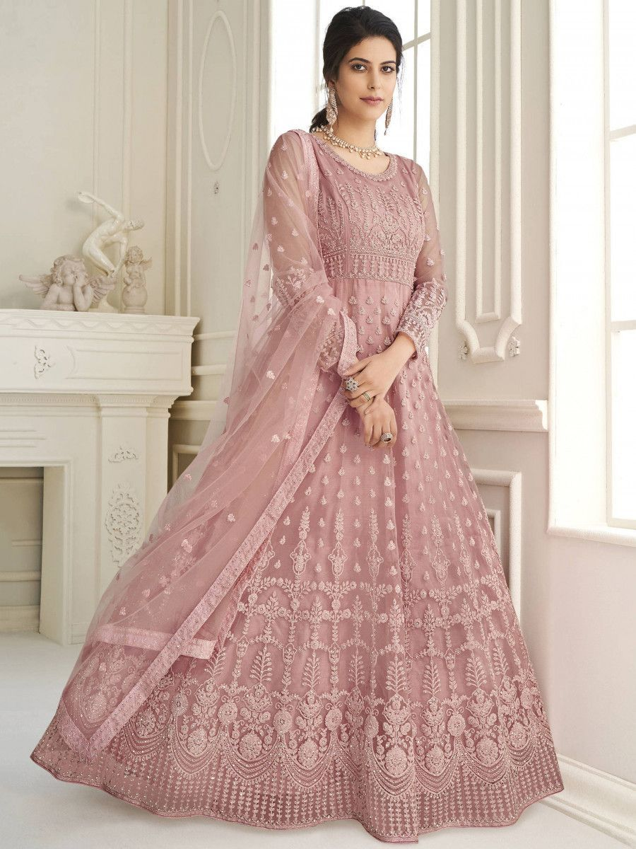 Rose Gold Thread Embroidery Net Party Wear Abaya Gown