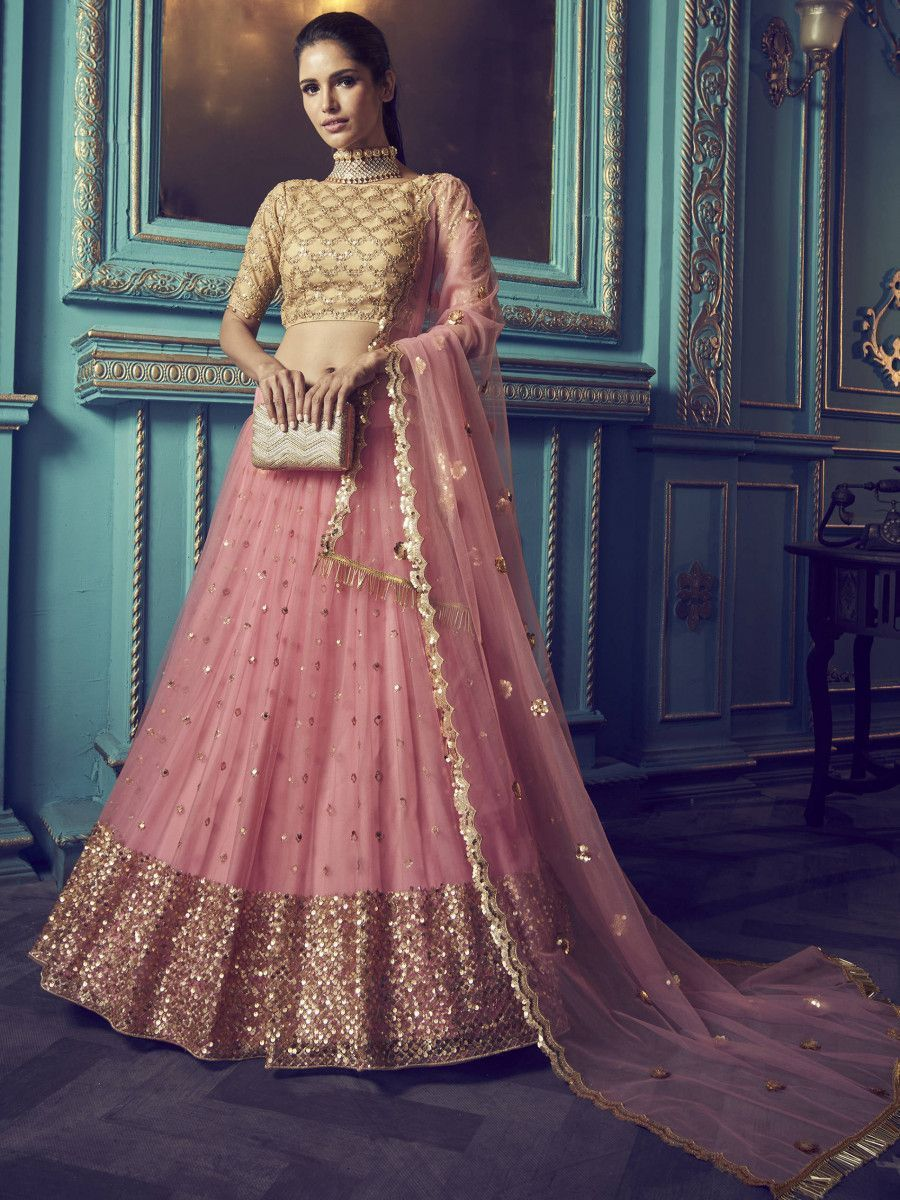 Pink Beige Sequins Net Wedding Wear Lehenga Choli With Dupatta