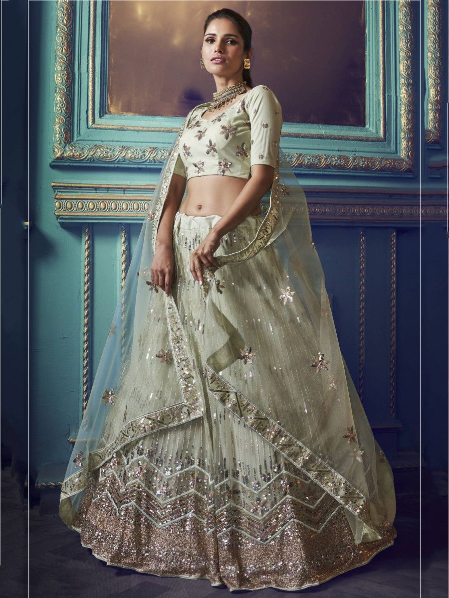 Green Thread Sequins Net Wedding Wear Lehenga Choli