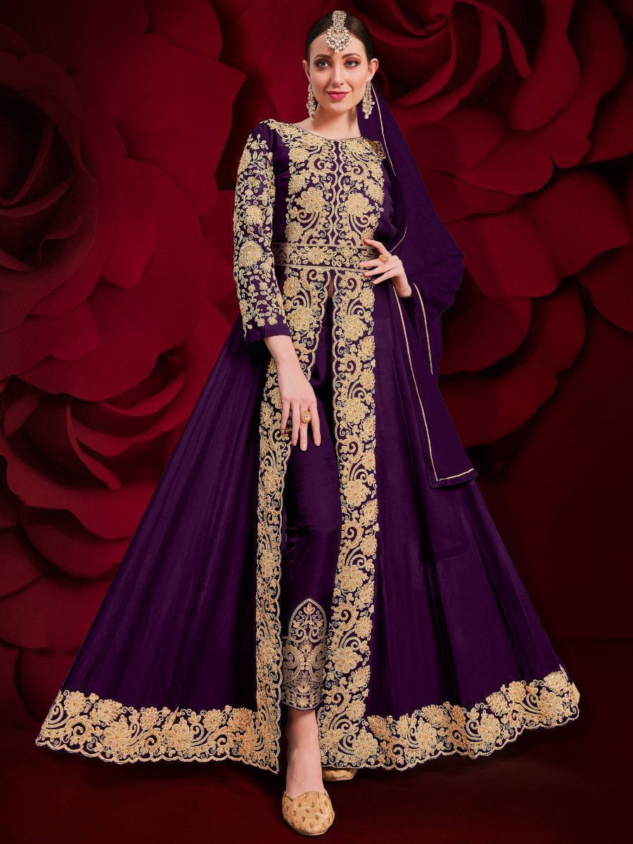 Purple Stone Embroidered Georgette Festive Pakistani Salwar Suit