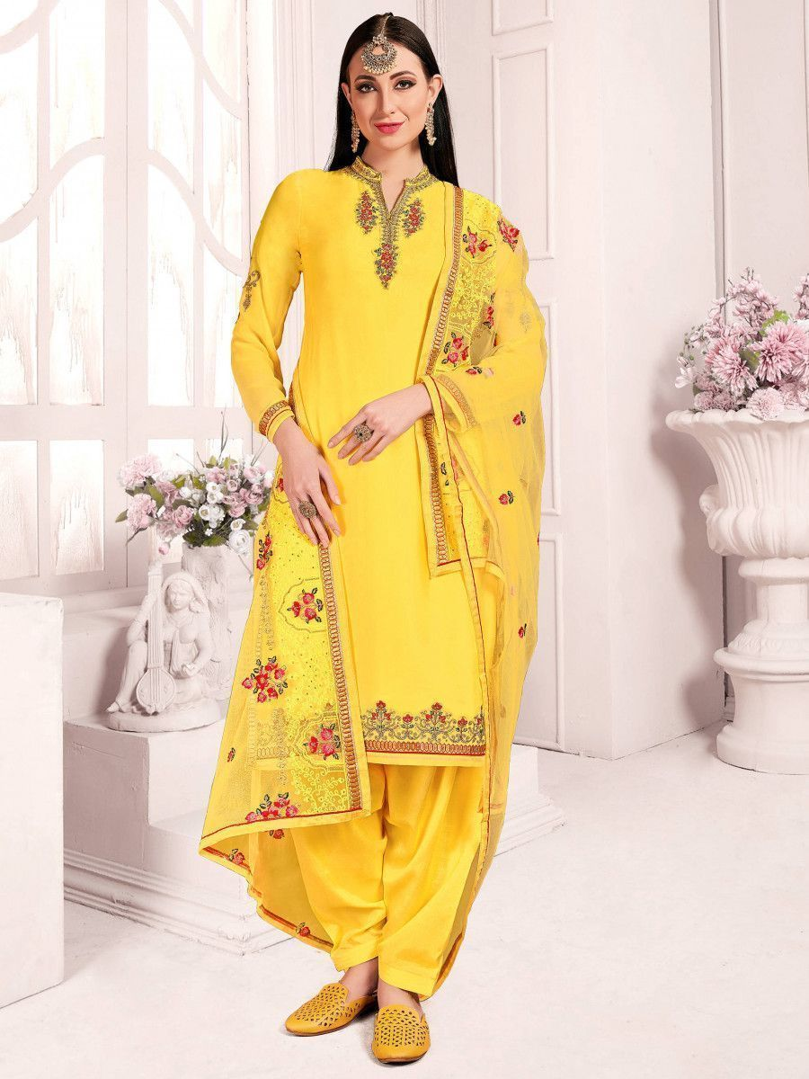 Yellow Floral Embroidered  Satin Wedding Wear Salwar Kameez