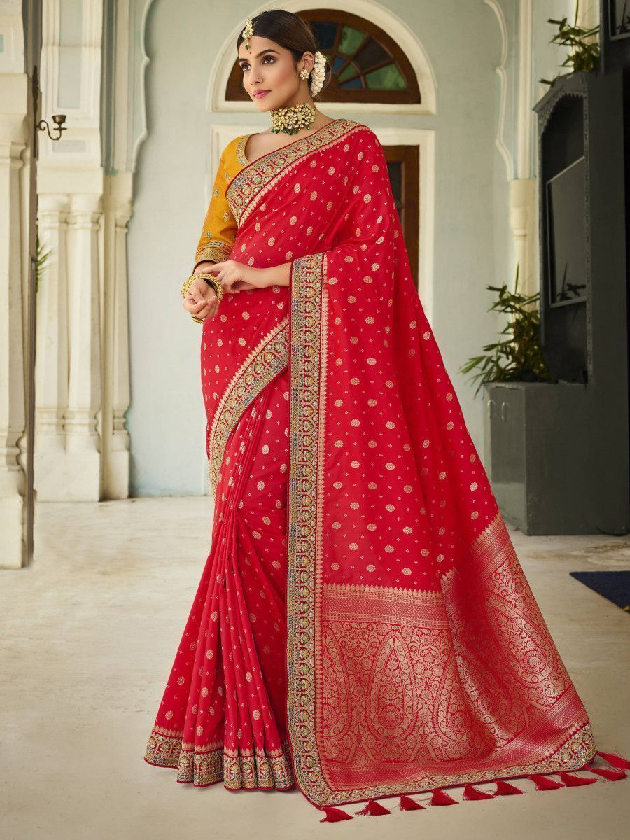 Red Embroidered Silk Wedding Wear Saree With Blouse