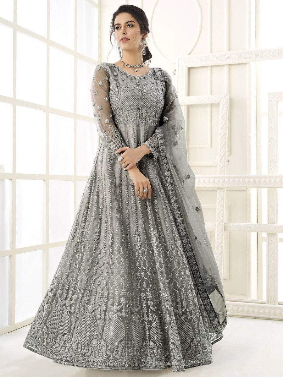 Grey Thread Embroidery Net Party Wear Abaya Gown
